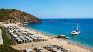 Private beach, beach cabanas, beach umbrellas, beach towels