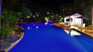 2 outdoor pools, open 6:30 AM to 9:30 AM, pool umbrellas, pool loungers