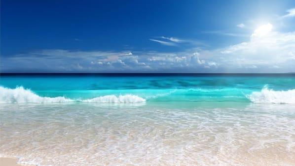 On the beach, white sand, beach umbrellas, surfing