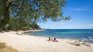 Am Strand, Liegestühle, Sporttauchen, Wasserski