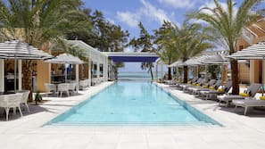 Outdoor pool, open 7:00 AM to 7:00 PM, pool umbrellas, sun loungers