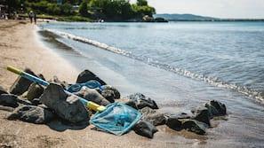 Plage à proximité, chaises longues, parasols, 2 bars de plage