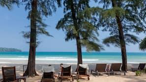 On the beach, windsurfing, kayaking