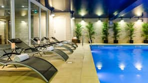 Indoor pool, open 7:00 AM to 10:30 PM, sun loungers