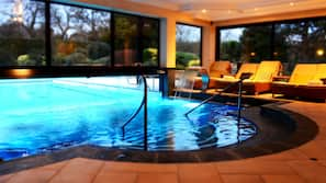 Indoor pool, outdoor pool, open 8:00 AM to 8:00 PM, pool umbrellas