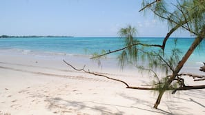 Beach nearby, white sand, free beach cabanas, sun loungers