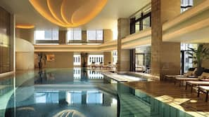 Indoor pool, open 7:00 AM to 9:00 PM, lifeguards on site