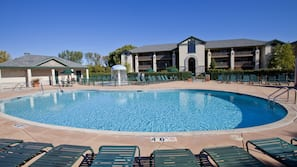 Indoor pool, seasonal outdoor pool, open 8 AM to 10 PM, sun loungers