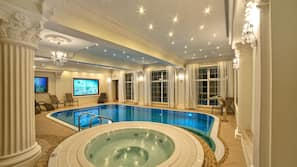 Indoor pool, open 9:00 AM to 8:30 PM, sun loungers