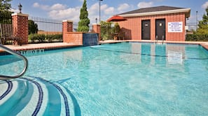 Seasonal outdoor pool, open 9 AM to 10 PM, sun loungers