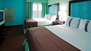 Tempur-Pedic beds, desk, blackout drapes, iron/ironing board