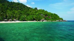 Private beach, sun loungers, beach umbrellas, beach towels