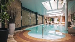Indoor pool, outdoor pool, pool loungers
