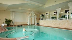 Indoor pool, outdoor pool, open 8 AM to 10 PM, pool umbrellas