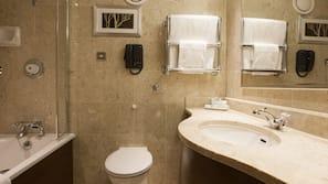Shower, free toiletries, hair dryer