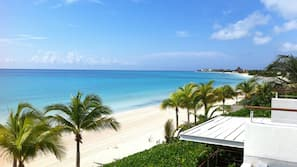 해변에 위치, 백사장, 일광욕 의자, 비치 파라솔