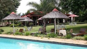 Outdoor pool, pool umbrellas