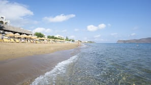 On the beach, free beach shuttle, sun-loungers, beach umbrellas
