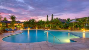 2 outdoor pools, open 7:30 AM to 8:00 PM, pool umbrellas, pool loungers