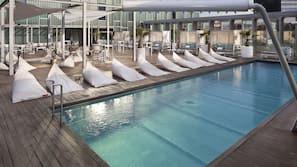 Seasonal outdoor pool, open 9 AM to 8 PM, pool umbrellas, sun loungers