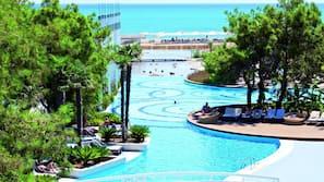 2 indoor pools, outdoor pool, pool umbrellas, pool loungers