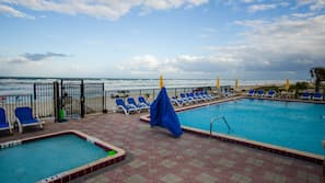 Outdoor pool, open 8:00 AM to 10 PM, pool umbrellas, sun loungers
