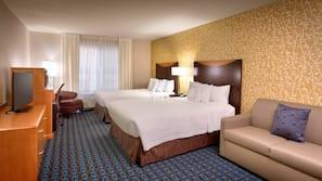 Premium bedding, desk, blackout drapes, iron/ironing board