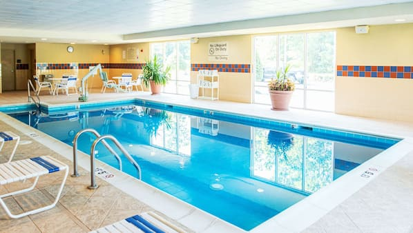 Indoor pool, open 10 AM to 10 PM, sun loungers