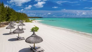Private beach, white sand, beach shuttle, sun loungers