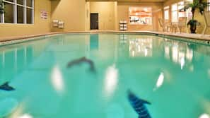 Indoor pool, open 10:00 AM to 10:00 PM, sun loungers