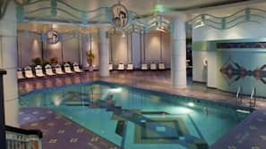 Indoor pool, open 6:30 AM to 9 PM, free cabanas