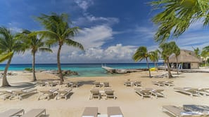On the beach, scuba diving, snorkeling