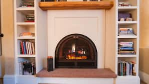 TV, fireplace, books, music library
