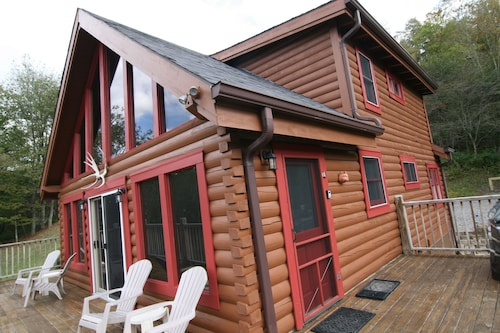 2 Miles to Snowshoe Secluded 3BR Log Cabin on 9 Acres Hot Tub Waterfall