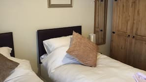 Premium bedding, pillow top beds, desk, iron/ironing board