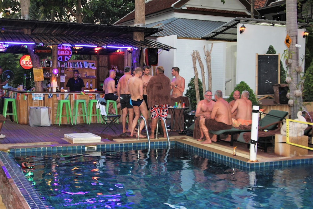 Poolside Bar, Alpha Gay Resort & Spa - Caters to Gay Men