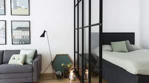 1 soveværelse, premium-sengetøj, skrivebord, mørklægningsgardiner