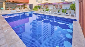 Outdoor pool, open 8 AM to 9:30 PM, pool umbrellas, sun loungers
