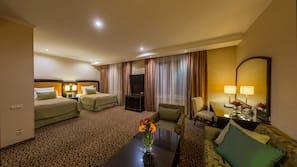 1 bedroom, desk, blackout drapes, iron/ironing board
