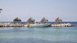 Private beach nearby, white sand, sun loungers, beach towels