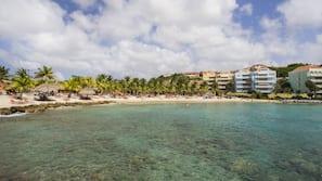 On the beach, white sand, sun loungers, scuba diving