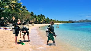 On the beach, scuba diving, snorkelling, kayaking