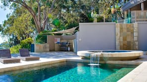 2 outdoor pools, open 7 AM to 8 PM, pool umbrellas, pool loungers