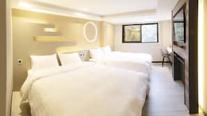 Premium bedding, down comforters, pillowtop beds, individually decorated