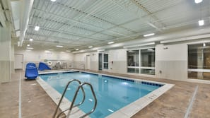 Indoor pool, open 7 AM to 11 PM, sun loungers
