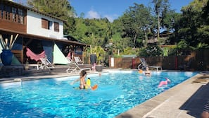 Outdoor pool, open 8:00 AM to 7:30 PM, sun loungers