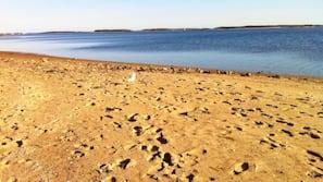 Perto da praia, espreguiçadeiras, toalhas de praia