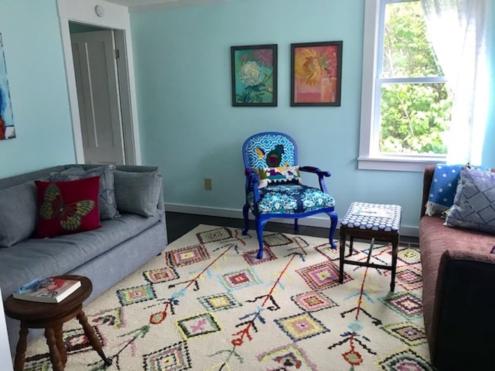 Living Room, Blue Hill, Maine!  Adorable property w/ parking for small boat for town launch.