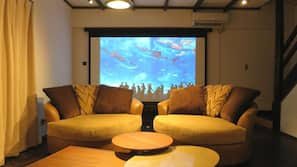 120-inch flat-screen TV with digital channels, TV, video-game console