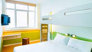 Desk, blackout drapes, soundproofing, free cribs/infant beds